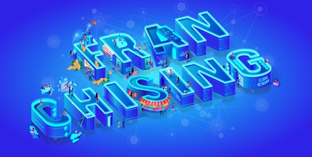 Franchising. Isometric 3d Word. Big Letters. Gradient Background. Business Opportunity, Bizopp, Franchise, Distribution. Little People Use Smart High-Tech for Life. Neon City. Flat Vector Illustration
