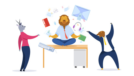 Businessman with Lion Head Meditating Clipart. Metaphor of Office Workers as Animals. Relaxed Businessman in Lotus Position. Calm Predator Oppose to Stressed Employees. Time Management Vector Concept