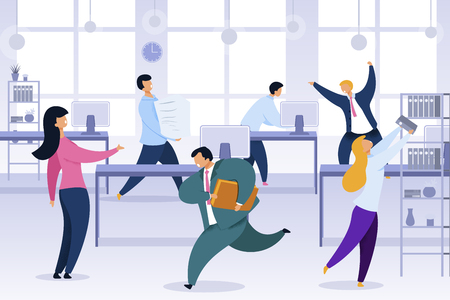 Work Rush, Office Chaos, Flat Vector Illustration. Busy, Stressed Office Workers Fussing Characters. Job Routine, Deadline. Working-Day, Shift Cartoon Clipart. Employees at Workplace Color Concept