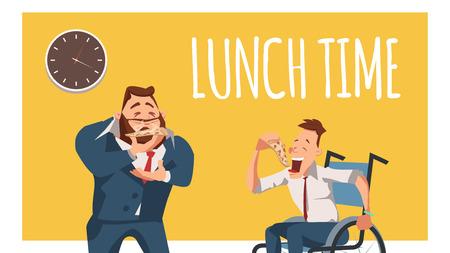 Behinderter Mitarbeiter und Arbeiter im Anzug essen zu Mittag. Rollstuhl-Freiberufler isst Pizza. Glücklicher Geschäftsmann oder Büromann stehen, riechen ein Stück italienisches Essen. Flache Vektorillustration der Karikatur