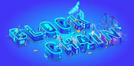Blockchain. Isometric 3d Word. Cryptocurrency Idea. Farm for Mining Bitcoins. Digital Money Market, Investment, Finance and Trading. Miniature Characters Live in Neon Smart City. Vector Illustration.