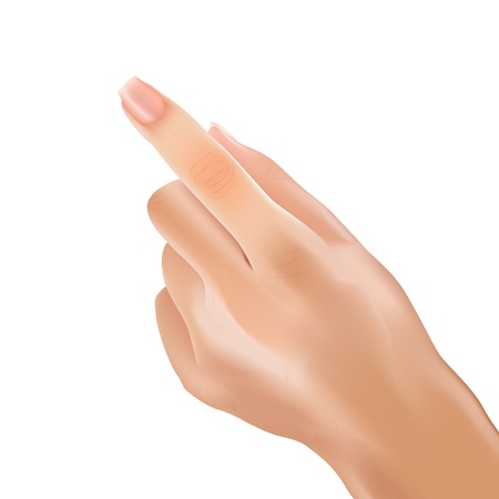 Realistic Hand, Left Back Palm Woman. Vector Illustration Human Thumb Gesture on White Background. Female Hands Forefinger Pointing. Fingers Bent Except Index Finger. Touch Up Arm Body Sign.
