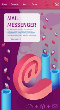 Illustration Mass Mailing Written Mail Messenger. Foreground an E-mail in Midst Vertical Pipes. Letters Fly Out Tubes. Fast Instant Messaging App any Distance. Vector Landing Page.