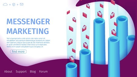 Banner Messenger Marketing Vector Illustration. Implementation Instant Marketing Central Component in Strategy Company Engaged Sales or Customer Searches. Pipes Flying Letters in Envelopes. 矢量图像