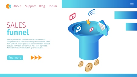 Timely Sales Funnel Definition Horizontal Banner. Vector Illustration on Landing Page. Foreground Wide Funnel. E-mails, Messengers and Mass Mailings, Coins Dollar Symbol Fly into Pipe. Illustration