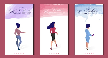 Flat Banner Set Fashion Woman Collection Clothing. Vertical Vector Illustration. Lettering on Colored Watercolor Brush Stroke. Beautiful Women are Dressed in Tight Feminine Clothes. Illustration