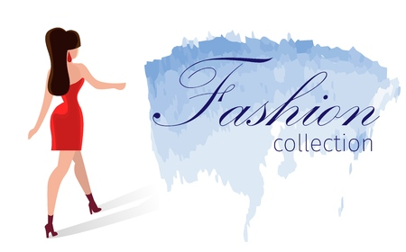 Horizontal Cartoon Leaflet Fashion Collection. Lettering Watercolor Brush Stroke. Beautiful Girl Dress on Heels Dressed Evening Decorations. Luxury Fashion Show Poster. Presentation runway show. Illustration