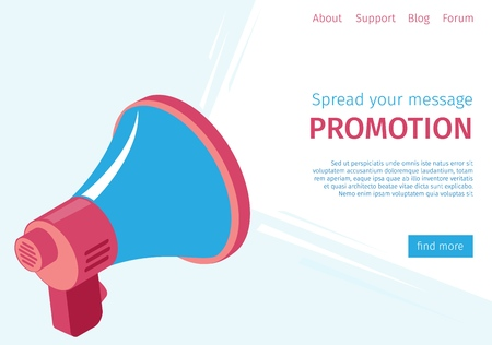 Banner Spread Your Message Promotion to Users. Foreground is Loudspeaker. Strategies Audio to Attract Potential Customers and Conversion Paths. Vector Illustration on Landing Page.