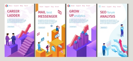 Career Ladder, Mail Best Messenger Set Flat Banner. Vector Illustration Grow Up Analytics, Seo Forum Analysis. Use Available Electronic Tools and Analytical Mindset Reach their Intended Goal.