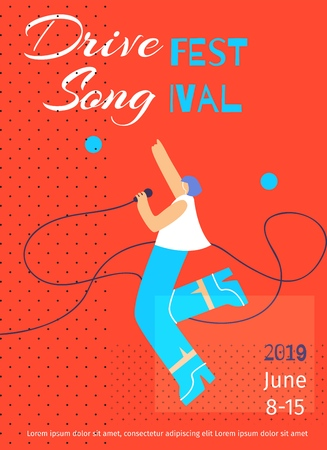 Drive Fest Song Poster Flat Template with Dancing Singing Beautiful Woman Date Place Color Copy Space Cartoon Character Vector Illustration for Promoting Advertising Grand Star Tour Concert Banner
