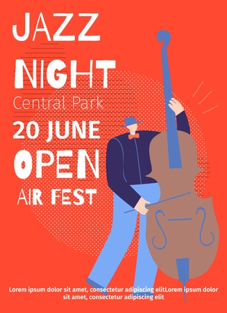 Announcement Jazz Night Open Air Fest in Central Park Vector Flat Designed Poster Advertising Disco Party Live Sound Great Event Cartoon Illustration Man Playing Contrabass Classic Music Festival Stock Illustratie