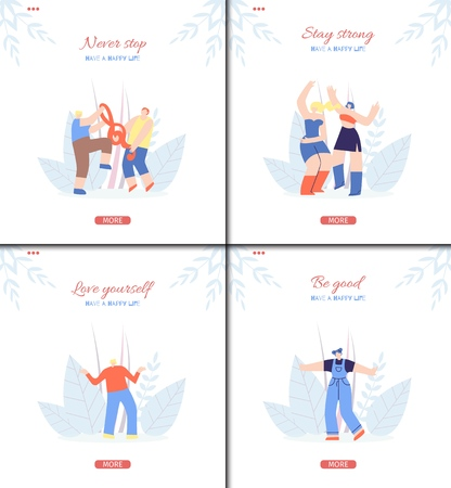 Motivation Social Landing Page Flat Template Set in Floral Music Fest Design with Having Fun Dancing Enjoying Recreation Leisure Outdoors Man Woman Vector Illustration Characters Inspiration Wisdom Stok Fotoğraf - 120233523