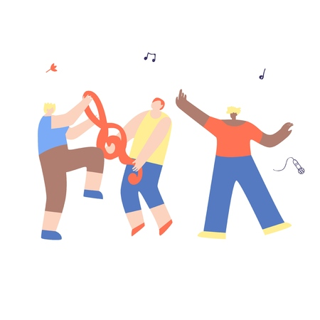 Dancing Happy Friends Man Having Fun Isolated. Flat Vector Festival Cartoon Disco Party Dancing Marathon, Open Air Live Karaoke Night Club, Modern Musical Band. Treble Clef, Mic, Music Note Çizim