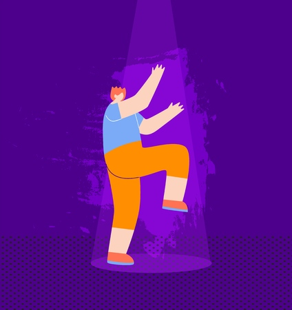 Happy Redheaded Boy Dancing Having Fun Clubbing Guy Showing Dance at Nightclub under Music Lights Competition Cartoon Man Talented Character Taking Part at Music Disco Festival Flat Style Illustration
