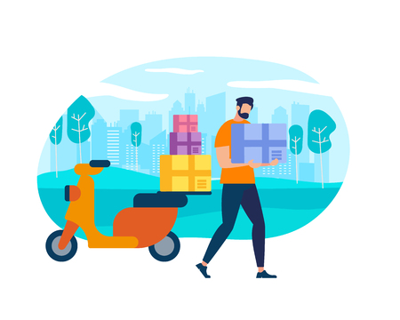 Delivery Man on Scooter. Fast Transportation. Character Postman, Courier with Parcel on Motorbike Over City View Landscape. Cartoon Flat Vector Illustration, Creative Icon Isolated on White Background Vecteurs