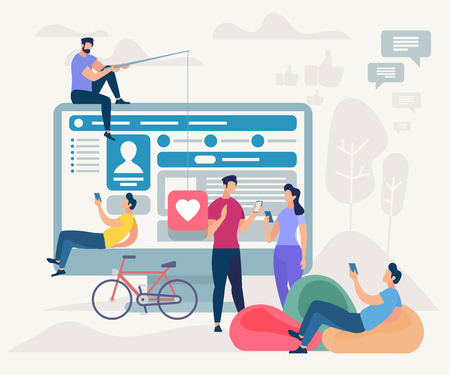 Young Men and Women Communicating via Internet Using Mobile App. Guys and Girls Messaging in Social Media Application on Big Monitor Background with Network Profile. Cartoon Flat Vector Illustration