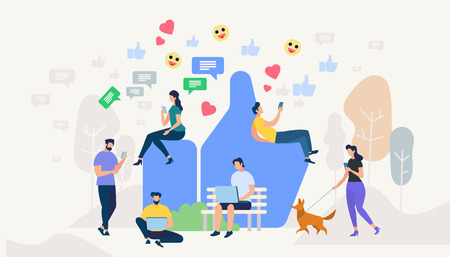 Men and Women Communicating in Social Media Networks Around of Huge Blue Hand Showing Thumb Up. People Using Gadgets and Smartphones. Smart Technologies, Internet. Cartoon Flat Vector Illustration Illustration