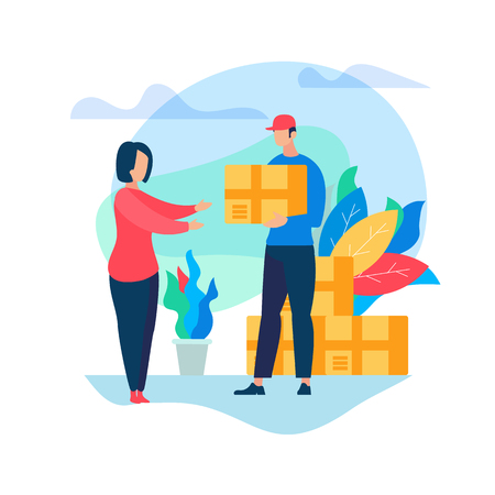 Man Courier Deliver Box Parcel to Young Woman Consumer Character to Home. Shopping, E- Commerce, Online Trading. Fast Internet Modern Technology. Express Delivery Cartoon Flat Vector Illustration