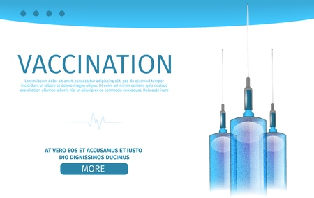 Editable Banner with Realistic Vertical Syringes Filled Abstract Vaccine. Medical Background Vector Illustration Dedicated to Vaccinations for Adults and Children. Landing Page for Online Clinic
