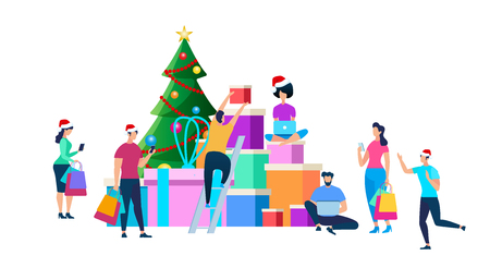 Festive People Character Preparing for New Year and Christmas Celebration. Men and Women in Santa Claus Hats Decorating Fir Tree, Purchasing Gifts, Making Presents. Cartoon Flat Vector Illustration. Illustration