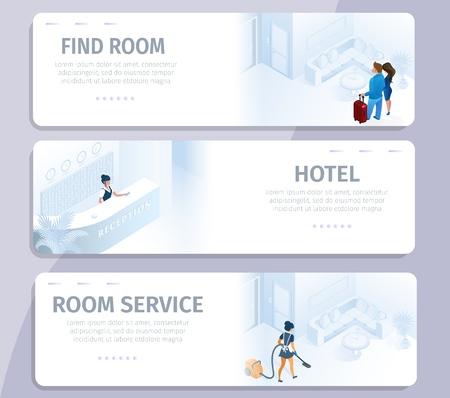 Hotelbuchung Finden Sie Zimmerreinigungsservice Banner Set Vector Illustration. Reservierung Online buchen Komfortables modernes All-Inclusive-Apartment für Geschäftsreisen Reise Urlaub Tour kaufen Vektorgrafik