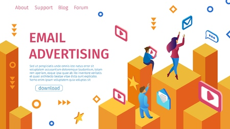 Banner Email Advertising Flat Vector Illustration. Complex Telemarketing Tool that Helps to Ensure and Support Sales. Modern Men and Women Golden Bars Work with Electronic Networks. Reklamní fotografie - 120461477