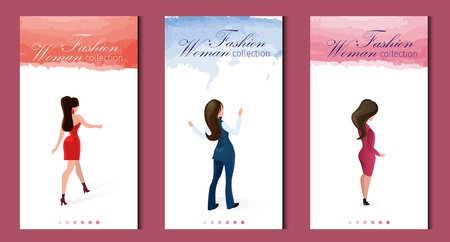 Fashion Woman Collection Vector Illustration. Set Gorgeous Girls Model Appearance Demonstrate Event Clothes for Parties and Workspace. Vertical Flat Banner, Lettering on Landing Page.