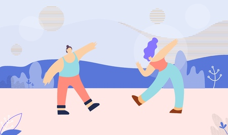 Flat Banner Template with Dancing Cartoon Multi Ethnic Caucasian and Asian Man Woman. Disco Party Festival Marathon Vector Illustration. Clubbing Couple Enjoying Dance over Floral Style