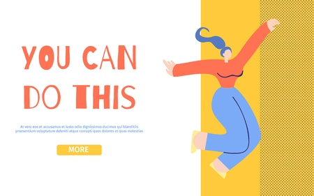 You Can Do This Motivation Landing Page. Happy Dancing Flying in Dreams Jumping Admired Girl. Believe in Yourself, Female Power, Body Work Concept. Inspirational Flat Style Vector Illustration Banner