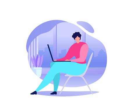 Concept de vecteur plat de travail en ligne. Femme à l'aide d'un ordinateur portable, réservation de billets sur Internet, achat de marchandises, communication avec un ami dans une illustration de réseau social isolée sur fond blanc. Du travail en indépendant