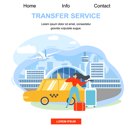 Airline Company Airport Baggage Transfer Service Flat Vector Square Web Banner or Landing Page Template. Traveling with Baggage Woman, Female Tourist Arriving to Destination, Calling Taxi Illustration