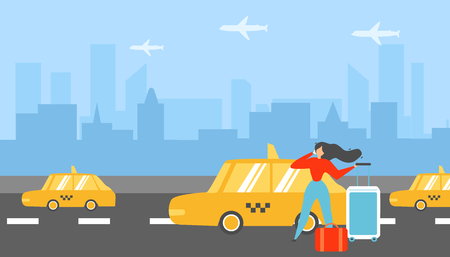 Booking Taxi for Transfer Baggage to Airport Flat Vector Concept with Traveling with Road Bags Woman Calling Taxi, Ordering Transporting Services, Arriving Tourist Booking Hotel Room Illustration