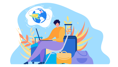Online Service for Tourists Flat Vector. Traveling with Baggage Woman Using Laptop, Searching Flights Timetable in Internet, Buying Airline Tickets, Planning Journey Illustration on White Background