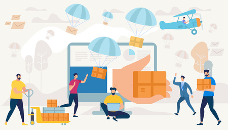 Big Hand Gives Box Through Monitor. People Characters Shopping. Express Delivery. Online Application. E-commerce Sales, Marketing Digital Technology, Parachutes with Parcels. Flat Vector Illustration Ilustração