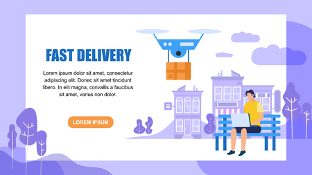 Fast Delivery Horizontal Banner with Copy Space. Man Sitting on Bench with Laptop, Remote Air Drone with Parcel. Express Delivery Service. Package by Quadcopter. Cartoon Flat Vector Illustration. Illustration