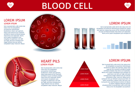 Blood Cell Medical Banner Depicting Icons of Artery, Erythrocyte Cell with Hemoglobin Inside, Red Sample Fluid in Test Tubes. Hematology Chart and Scheme. Vector Realistic Illustration with Copy Space Stock Vector - 123756224