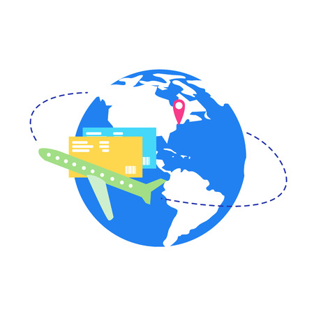 Traveling by Air Transport Flat Vector Concept. Passenger Airliner Flying around Globe, Destination Pin on World Map, Flight Pass Illustration Isolated on White Background. Booking Ticket Service Icon