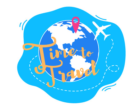 Time to Travel Flat Vector Concept. Airplane Flying around The World, Destination Red Pin on Globe Illustration Isolated on White Background. Travel Agency, Touristic Service, Airline Company App Icon Illustration