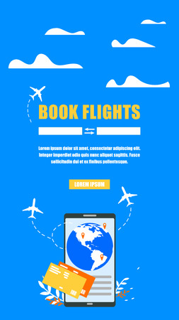 Airline Tickets Booking Online Service Flat Vector Vertical Web Banner. Flight Routes, Travel Destinations Searching Form, Globe on Cellphone Screen Illustration. Travel Agency Mobile App Landing Page Stock Illustratie