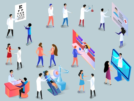 Medical Workers and Patients Set. Clinic Infographics with Hospital Hall Interior, Laboratory, Oculist, Stomatology Doctors, Reception. High Tech in Medicine. 3D Vector Isometric Illustration.