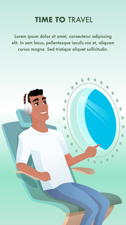 Smiling African American Man Airplane Passenger. Happy Character Wear Headphone at Seat Look at Aircraft Porthole, Illuminator View. Time to Travel. Flat Cartoon Vector Illustration