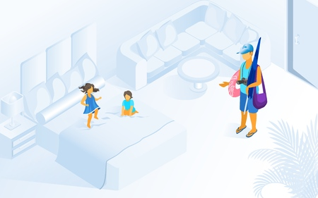 Children Playing Jumping on Bed Hotel Room Parent Father Wait go Beach Pool Vector Isometric Illustration. Child Friendly Resort Hotel Concept. Comfortable Relax Apartment Summer Vacation