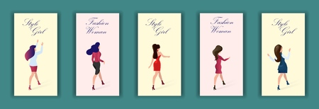 Set Card with Inscription Fashion Woman Style Girl. Vector Illustration Color Background. Women and Girls Full Growth Show New Fashion Collection Clothes. Bold Youth Everyday Kits Weekend.