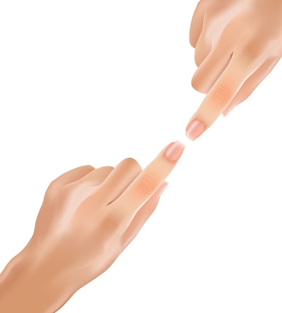 Realistic Gentle Touch Hands with Index Fingers. Vector Illustration Touch Up Arm Body Sign. Two Hands Beautiful Healthy Color Without Hair Try to Touch Each other with their Fingers. Illusztráció