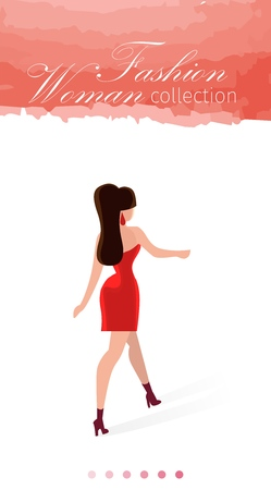 Fashion Woman Collection Cartoon Headline on Pink. On Landing Page Watercolor Stain. Elegant Clothes Couturier are Fabric Fashion. Beautiful Woman with Dressed Dress Goes on Heels.