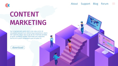 Strategy Content Marketing Manager Flat Banner. Vector Illustration  Landing Page. Concept Aimed at Building Sustainable Business Relationships with Customers. Men and Women go Up. Çizim