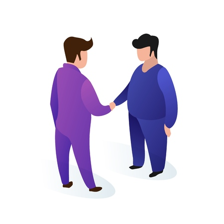 Fat Men in Trendy Suits With no Emotion Face. Office Workers Greet Each other with Handshake. Sedentary Lifestyle Leads to Changes in Shape. Vector Illustration on White Background.