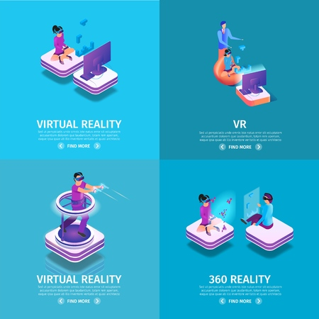 VR Square Banners Set on Blue Gradient Background with Copy Space. Gaming People. Man Playing Video Game in Goggles, Running and Shoot with Guns. Virtual Reality. 3d Flat Vector Isometric Illustration