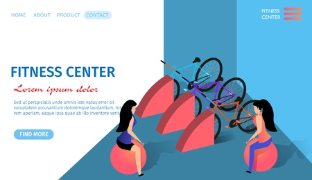 Fitness Center Horizontal Banner with Copy Space. Young Athletic Woman Training in Gym Sitting on Balls. Bicycles Stand Nearby. Exercising People and Equipment. 3d Flat Vector Isometric Illustration.