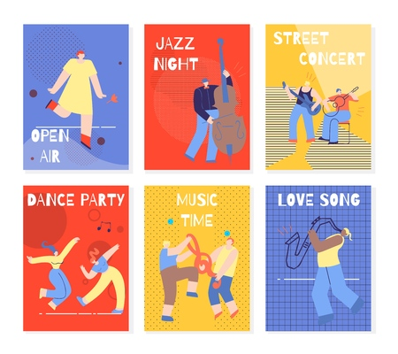 Modern Colorful Vertical Music Party Banners. Open Air Jazz Night Street Concert Dance Party Music Time Love Song Cards. Dance Musical Performance Festival Invitation. Flat Style Vector Illustration